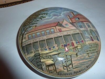 Prattware 12Cm Diam Pot Lid With Bellevue ,pegwell Bay Pictorial Image Plus Base