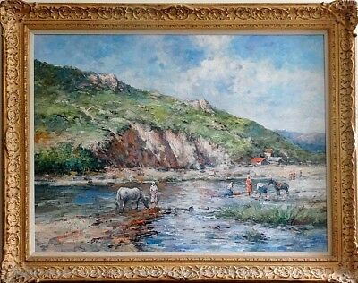 Rare Large ca.1945 Italian Life in Mountains Painting Oil/Canvas/Frame/Signed