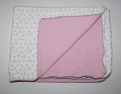 Amy Coe Limited Edition Baby Blanket Pink & White Girl Rosebud Reversible Cotton