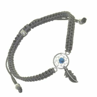 556714bf456629 Sterling Silver Jewellery: Adjustable Grey Cord Drawstring Bracelet with  Turquoi