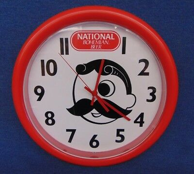 Baltimore National Bohemian Beer Natty Mr. Boh Wall Clock Runs! Nice Shape!