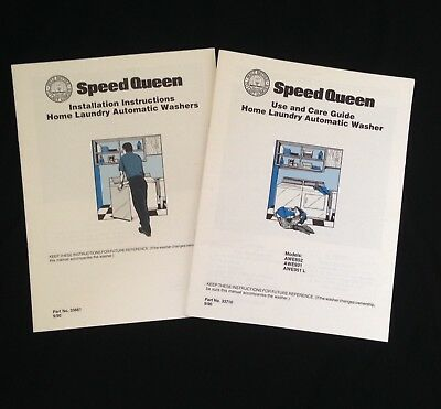 Vintage Speed Queen Use And Care Guide Laundry Washer Instruction Booklet