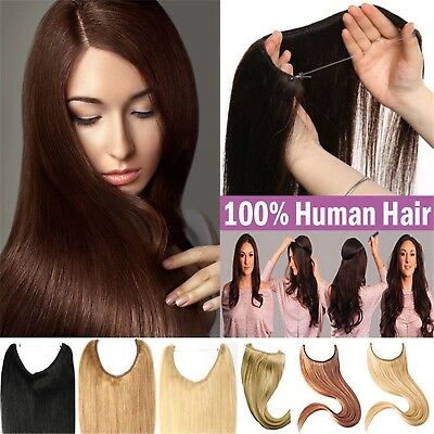 Wire No Clips Fish Line Halo Hair Flip In Remy Human Hair Extensions One pieces
