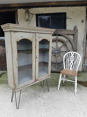 Antique Cupboard Bookcase Bathroom Cabinet on Steel Hairpin Legs