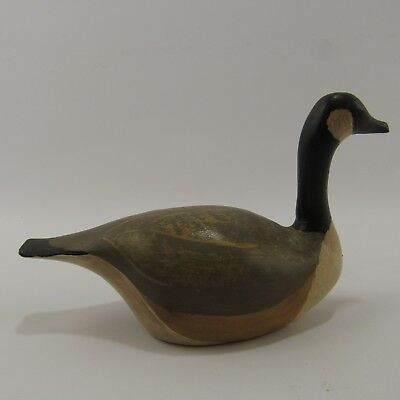 "Wooden Goose Figure 6"" Carved Wood Figurine Dick Branecki Artist Signed Painted"