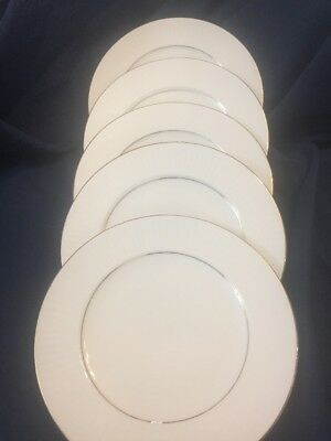 SET OF 5 Salad Plates BLACK TIE Gibson Housewares China Plate Gold ...