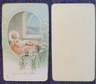 a# GLORIA IN EXCELSIS DEO ! GESù BAMBINO,SANTINO,HOLY CARD,AR 918,11 x 6,4 cm