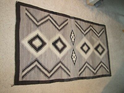 """Two Grey Hills Antique 1890-1920's Navajo Hand Woven Rug Vintage Size 70""""x47"""""""