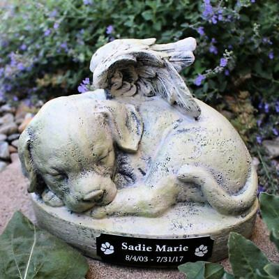 Pet Memorial Dog Angel Cremation Urn Grave Marker Statue 9 in Resin Personalized