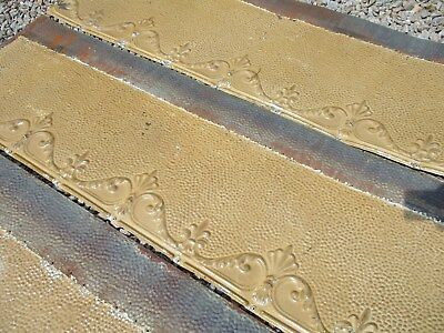 "6 Ornate Tin Ceiling Trim Pcs w/ Mustard Color,Total 21.5'L x 10""W, Fleur De Lis"