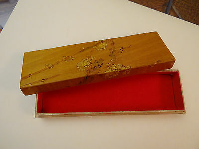 Vintage Oriental Wooden Jewelry Box Red Liner (USED-GOOD)