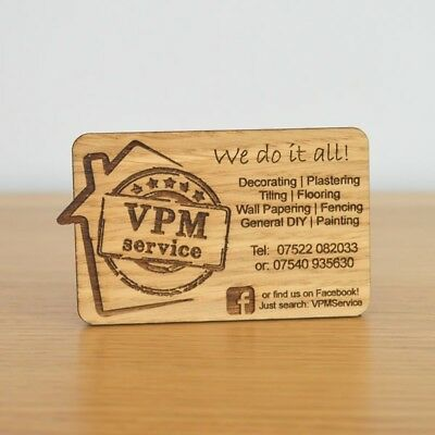 Wooden Business Cards - FREE DESIGN INCLUDED - Deluxe Oak Bespoke Personalised