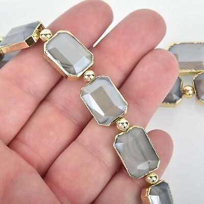 18mm Crystal Gray Glass RECTANGLE Beads Gold Bezel half strand 9 beads bgl1732