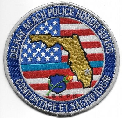 """*NEW*  Delray Beach Honor Guard, FL  (4"""" round)  shoulder police patch (fire)"""