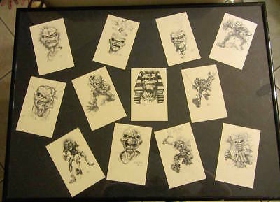 derek riggs set of 12 signed mini prints approx size 3 x 5 iron