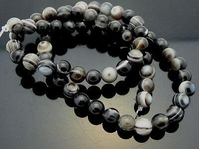 Natural Botswana Agate 6mm Smooth Round Black Banded Gemstone Beads Strand 16""