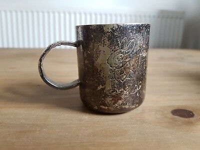 Silver Plated Epns Small Tankard Rabbit Engraved