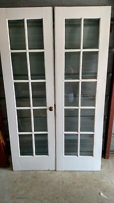 4 ft Vintage French Doors Wood 10 PANE BEVELLED GLASS