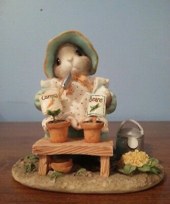 """FIGURE: MY BLUSHING BUNNIES: """"Love Grows Whenever You are Near potted plants '96"""