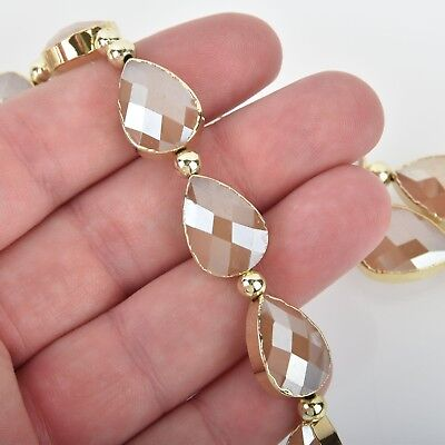 18mm Crystal Taupe Glass TEARDROP Beads Gold Bezel half strand 9 beads bgl1734