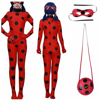 Kawaii Bug Sexy Women Adult Cosplay Costume+Mask+Bag Jumpsuit Tight Fancy Dress