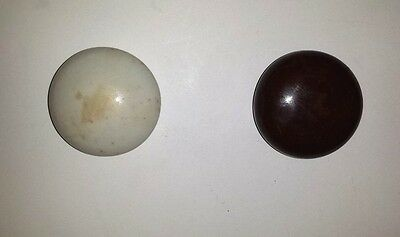 "Two Vintage White And A Brown Enamel/porcelain Door Knobs  Approx. 2"" Diameter"