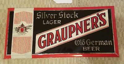 1930s GRAUPNER'S BEER embossed tin-over-cardboard (T.O.C.) beer sign from PA !!!