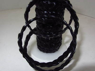 "Flat leather braided cord....5 yards of black color   3/8"" wide (10mm) ... 0588"