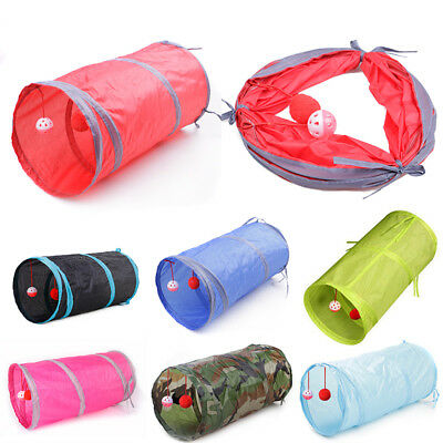 Tube Collapsible Tunnel Cat Kitten Rabbit Play Tunnels Foldable Pet Toy + 2 Bell