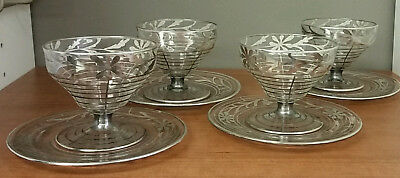 4 Art Nouveau Sterling Silver Overlay Dessert Sherbet Cups Compotes and Saucers