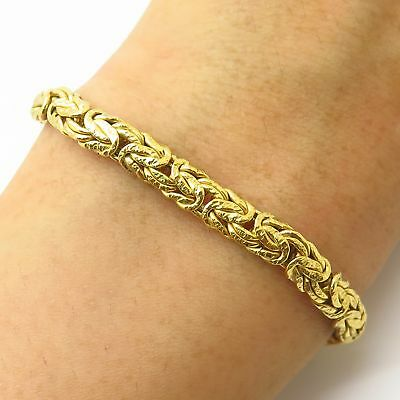 """Italy Itaor 925 Sterling Silver Gold Plated Byzantine Link Choker Necklace 10.5"""""""