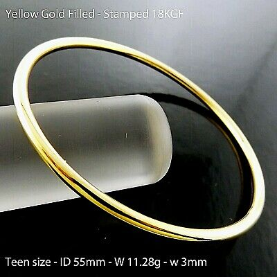 Bangle Bracelet Real 18k Yellow GF Gold Solid Ladies Girls Golf Cuff Design 55mm