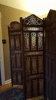 Large 4-Panel Hand Carved Wood Screen