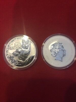 Lot of 2 - 2018 1 oz Tuvalu Black Panther Marvel Series Silver Coin BU In Cap