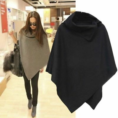 1f3c73c7a US Women Winter Warm Cape Black Batwing Poncho Jacket Wool Cloak Coat  Outwear