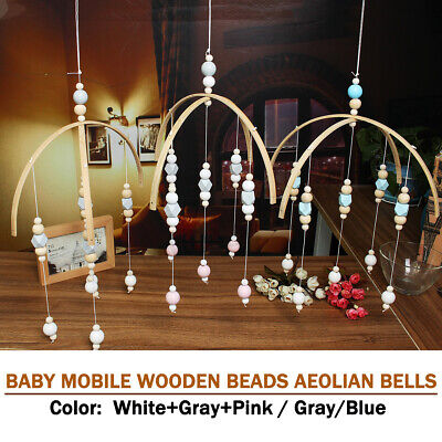 DIY Baby Crib Mobile Bed Bell Toy Holder Arm Hanging Bracket Wooden Beads Gift