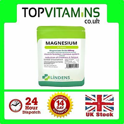Magnesium Tablets (90 x 500mg MgO) Lindens ✰ Can Reduce Tiredness & Fatigue ✰