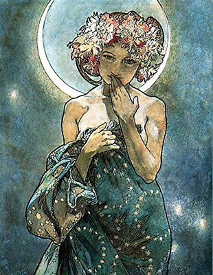 Alphonse Mucha Designs Art Nouveau Posters The Moon The Seasons Tetes Byzantines