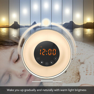 Wake Up Light Sunrise Simulator Alarm Clock LED FM Radio 7Color Night Light Lamp