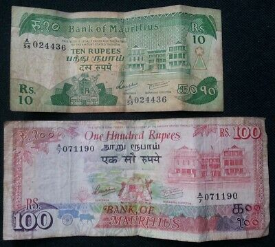 Mauritius Lot Of 2 Notes 10 & 100 Rupees 1985-1986 L@@k!!