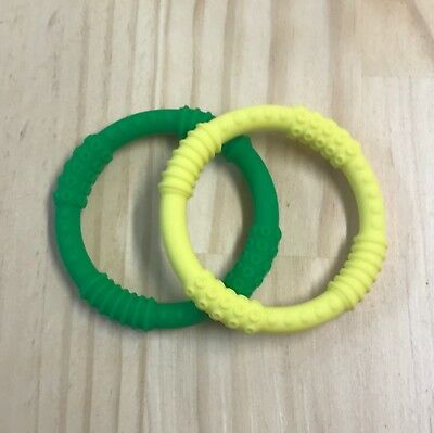 Silicone Teething Ring Toy for Baby or Toddler - Twin Pack Green & Yellow