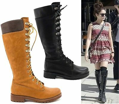 d83e727afc52 Ladies Womens Knee High Mid Calf Lace Up Biker Punk Military Combat Boots  Shoes