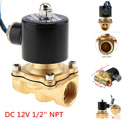 "1/2"" NPT 12V DC Electric Solenoid Valve Water Air Gas Control Valve Brass NPT"