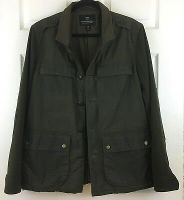 Mens Scotch & Soda Olive Green Waxed Cotton and Wool Jacket Worn OnceSize Large