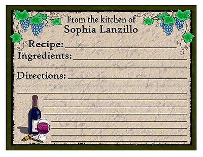 20 Personalized Grapes Kitchen Recipe Cards Wine
