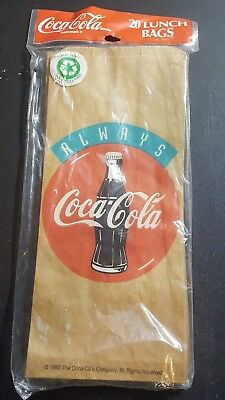 20 Always Coca-Cola Brown Paper Lunch Bags / Party Bags Coke Button Design U.S.A