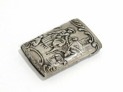 2.5 in - European Silver Antique Continental Life Scenes Match Safe