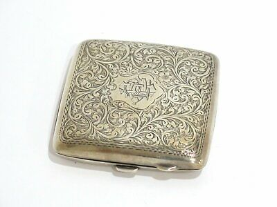 3 5/8 in - Sterling Silver Gilded Interior Antique English Floral Cigarette Case