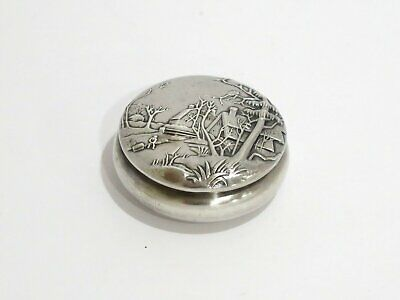 2 in - Sterling Silver Whiting Antique Country Life Scene Round Snuff/Pill Box