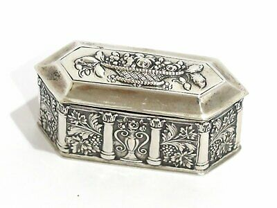 2.75 in European Silver Gilded Interior Antique Continental Floral Hex Snuff Box